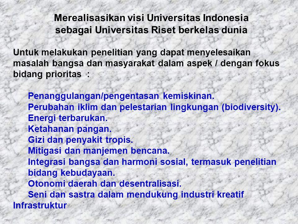 Merealisasikan visi Universitas Indonesia sebagai Universitas Riset berkelas dunia Untuk melakukan penelitian yang dapat menyelesaikan masalah bangsa dan masyarakat dalam aspek / dengan fokus bidang prioritas : Penanggulangan/pengentasan kemiskinan.