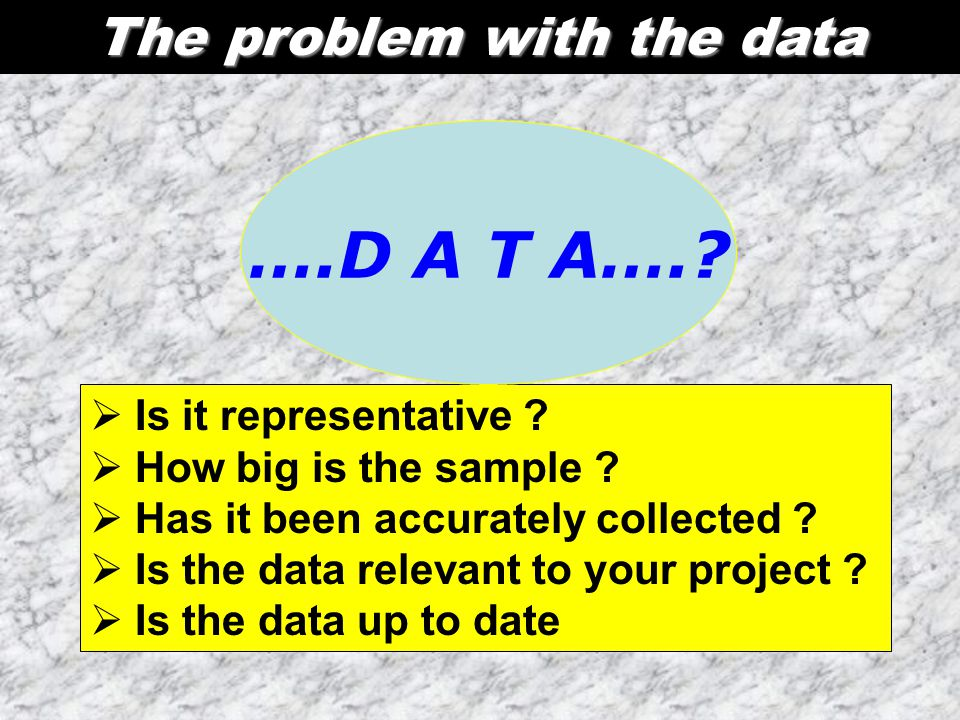 The problem with the data  Is it representative ?  How big is the sample ?  Has it been accurately collected ?  Is the data relevant to your proje