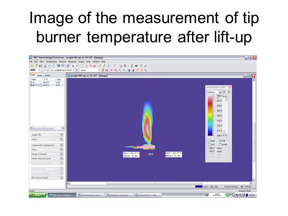 Image of the measurement of tip burner temperature after lift-up