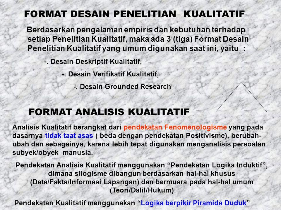 FORMAT DESAIN PENELITIAN KUALITATIF Berdasarkan pengalaman empiris dan kebutuhan terhadap setiap Penelitian Kualitatif, maka ada 3 (tiga) Format Desain Penelitian Kualitatif yang umum digunakan saat ini, yaitu : -.