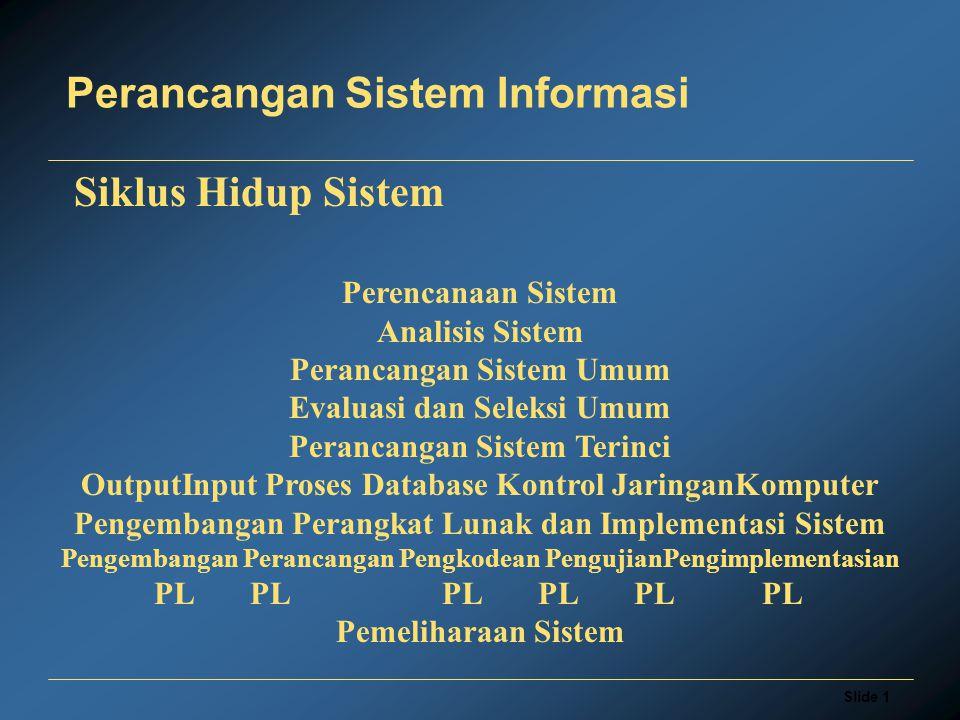 Slide 1 Perancangan Sistem Informasi Perencanaan Sistem Analisis Sistem Perancangan Sistem Umum Evaluasi dan Seleksi Umum Perancangan Sistem Terinci OutputInput Proses Database Kontrol JaringanKomputer Pengembangan Perangkat Lunak dan Implementasi Sistem Pengembangan Perancangan Pengkodean PengujianPengimplementasian PLPLPLPLPL PL Pemeliharaan Sistem Siklus Hidup Sistem