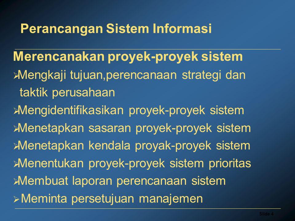 Slide 4 Perancangan Sistem Informasi Merencanakan proyek-proyek sistem  Mengkaji tujuan,perencanaan strategi dan taktik perusahaan  Mengidentifikasikan proyek-proyek sistem  Menetapkan sasaran proyek-proyek sistem  Menetapkan kendala proyak-proyek sistem  Menentukan proyek-proyek sistem prioritas  Membuat laporan perencanaan sistem  Meminta persetujuan manajemen