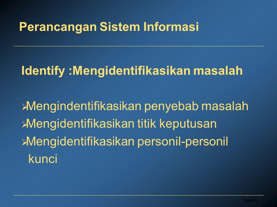 Slide 8 Perancangan Sistem Informasi Identify :Mengidentifikasikan masalah  Mengindentifikasikan penyebab masalah  Mengidentifikasikan titik keputusan  Mengidentifikasikan personil-personil kunci