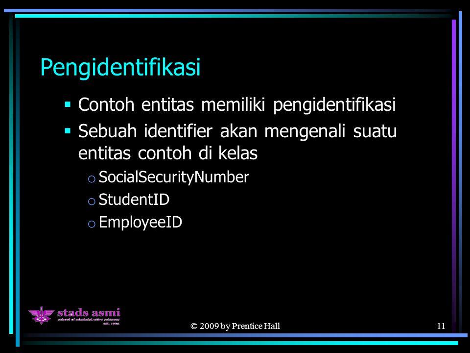 © 2009 by Prentice Hall11 Pengidentifikasi  Contoh entitas memiliki pengidentifikasi  Sebuah identifier akan mengenali suatu entitas contoh di kelas o SocialSecurityNumber o StudentID o EmployeeID