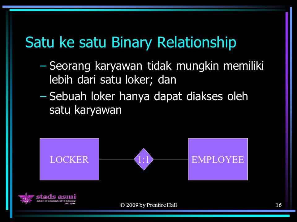 © 2009 by Prentice Hall16 Satu ke satu Binary Relationship –Seorang karyawan tidak mungkin memiliki lebih dari satu loker; dan –Sebuah loker hanya dapat diakses oleh satu karyawan LOCKEREMPLOYEE 1:1