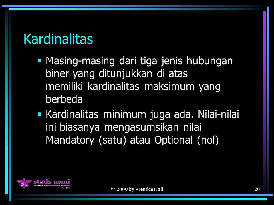 © 2009 by Prentice Hall20 Kardinalitas  Masing-masing dari tiga jenis hubungan biner yang ditunjukkan di atas memiliki kardinalitas maksimum yang berbeda  Kardinalitas minimum juga ada.