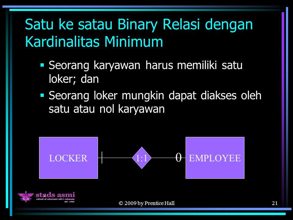 © 2009 by Prentice Hall21 Satu ke satau Binary Relasi dengan Kardinalitas Minimum  Seorang karyawan harus memiliki satu loker; dan  Seorang loker mu