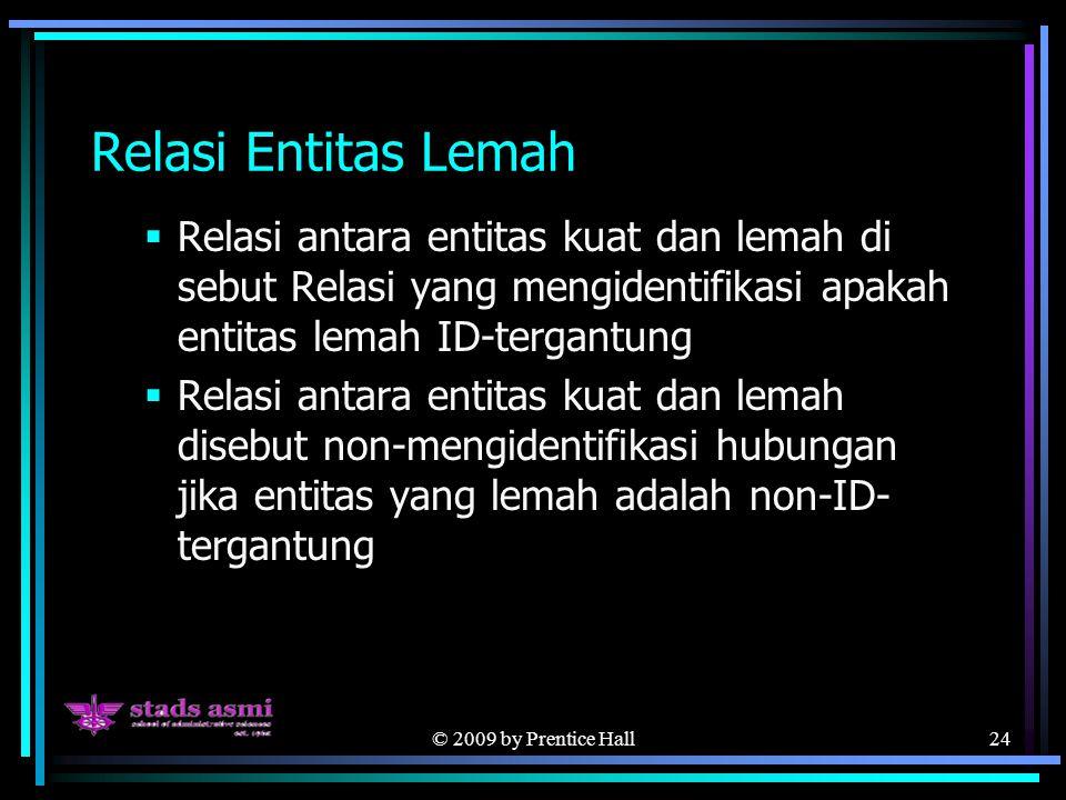 © 2009 by Prentice Hall24 Relasi Entitas Lemah  Relasi antara entitas kuat dan lemah di sebut Relasi yang mengidentifikasi apakah entitas lemah ID-te