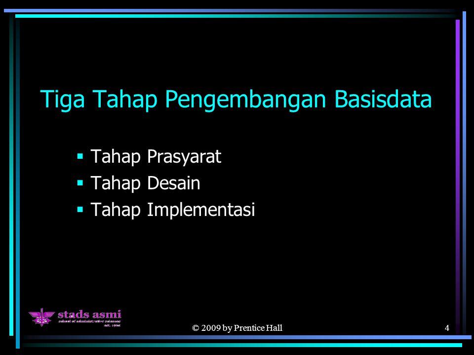 © 2009 by Prentice Hall4 Tiga Tahap Pengembangan Basisdata  Tahap Prasyarat  Tahap Desain  Tahap Implementasi