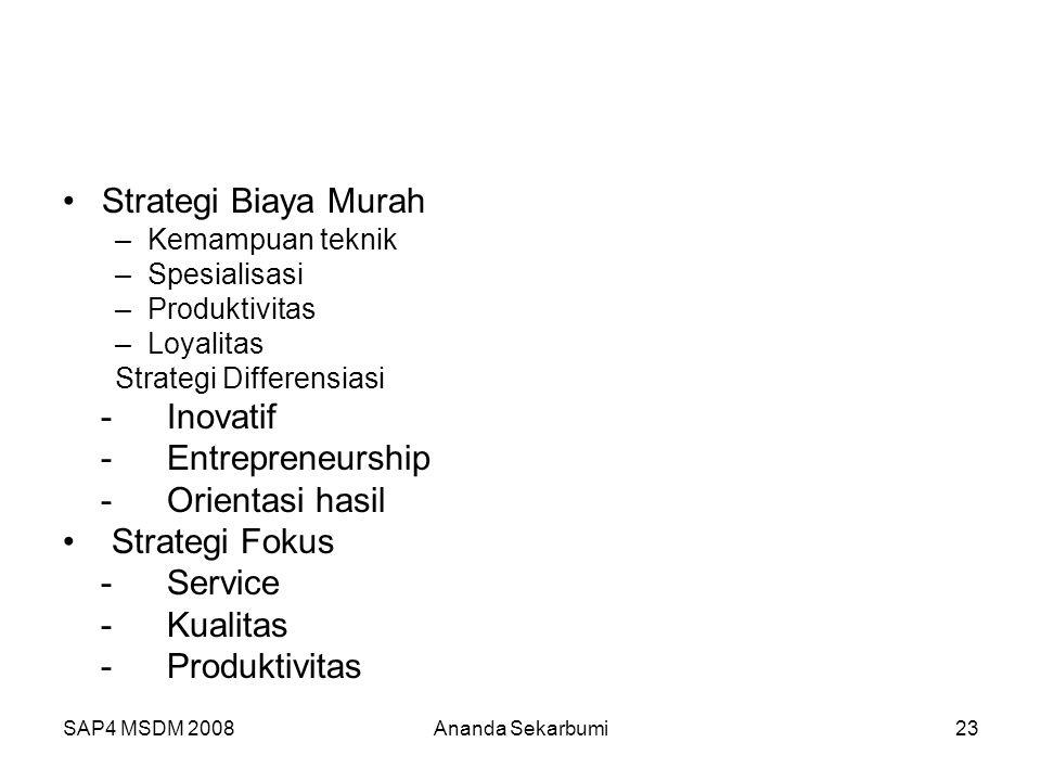 SAP4 MSDM 2008Ananda Sekarbumi23 Strategi Biaya Murah –Kemampuan teknik –Spesialisasi –Produktivitas –Loyalitas Strategi Differensiasi -Inovatif -Entr