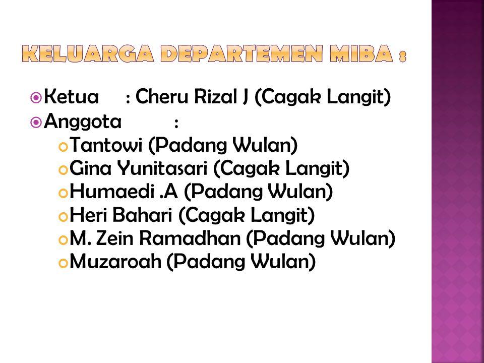  Ketua : Cheru Rizal J (Cagak Langit)  Anggota : Tantowi (Padang Wulan) Gina Yunitasari (Cagak Langit) Humaedi.A (Padang Wulan) Heri Bahari (Cagak L