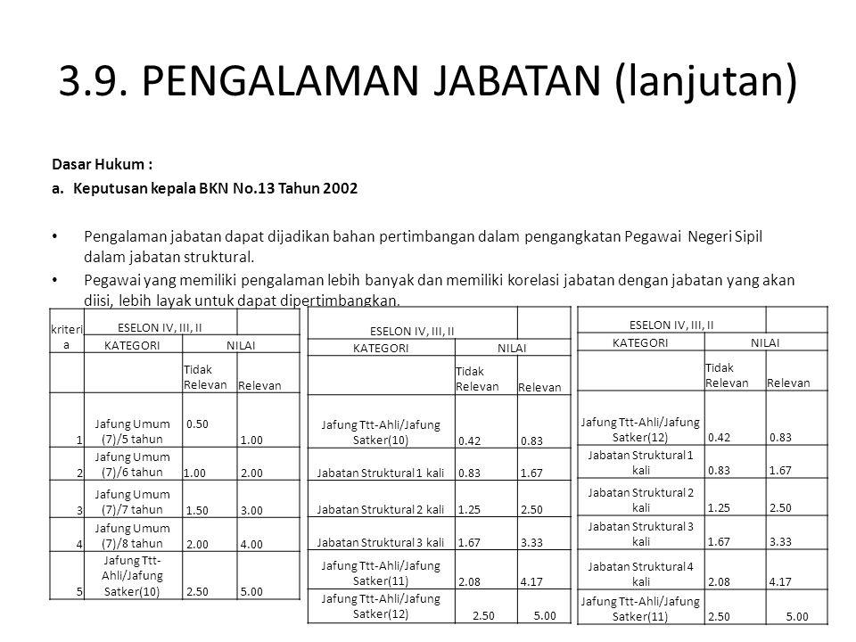 3.9. PENGALAMAN JABATAN (lanjutan) Dasar Hukum : a.Keputusan kepala BKN No.13 Tahun 2002 Pengalaman jabatan dapat dijadikan bahan pertimbangan dalam p