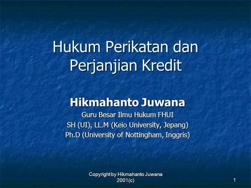 Copyright by Hikmahanto Juwana 2001(c) 32 Contoh Sub Bagian Pencantuman Identitas Para Pihak (4) PT HIK, a company duly organized and validly existing under the laws of the Republic of Indonesia, domiciled in ___________, with its office at _______________ (hereinafter referred to as the Lander ).