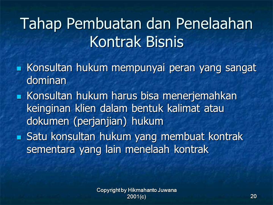 Copyright by Hikmahanto Juwana 2001(c) 20 Tahap Pembuatan dan Penelaahan Kontrak Bisnis Konsultan hukum mempunyai peran yang sangat dominan Konsultan