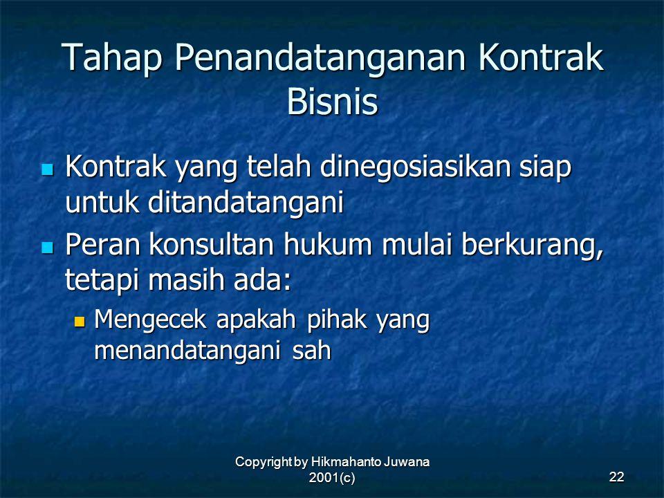 Copyright by Hikmahanto Juwana 2001(c) 22 Tahap Penandatanganan Kontrak Bisnis Kontrak yang telah dinegosiasikan siap untuk ditandatangani Kontrak yan