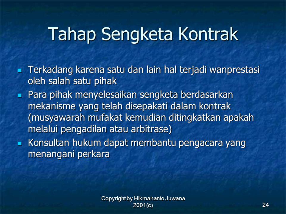 Copyright by Hikmahanto Juwana 2001(c) 24 Tahap Sengketa Kontrak Terkadang karena satu dan lain hal terjadi wanprestasi oleh salah satu pihak Terkadan