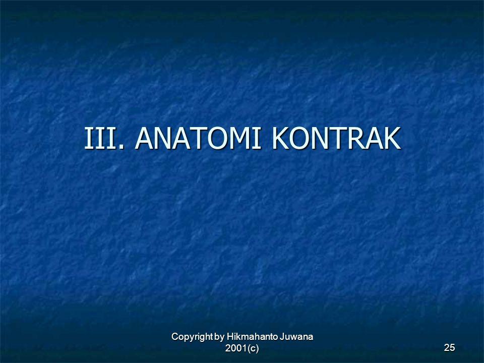 Copyright by Hikmahanto Juwana 2001(c) 25 III. ANATOMI KONTRAK