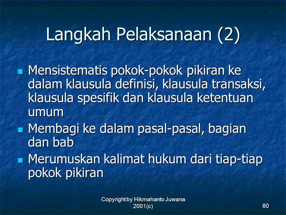 Copyright by Hikmahanto Juwana 2001(c) 80 Langkah Pelaksanaan (2) Mensistematis pokok-pokok pikiran ke dalam klausula definisi, klausula transaksi, kl