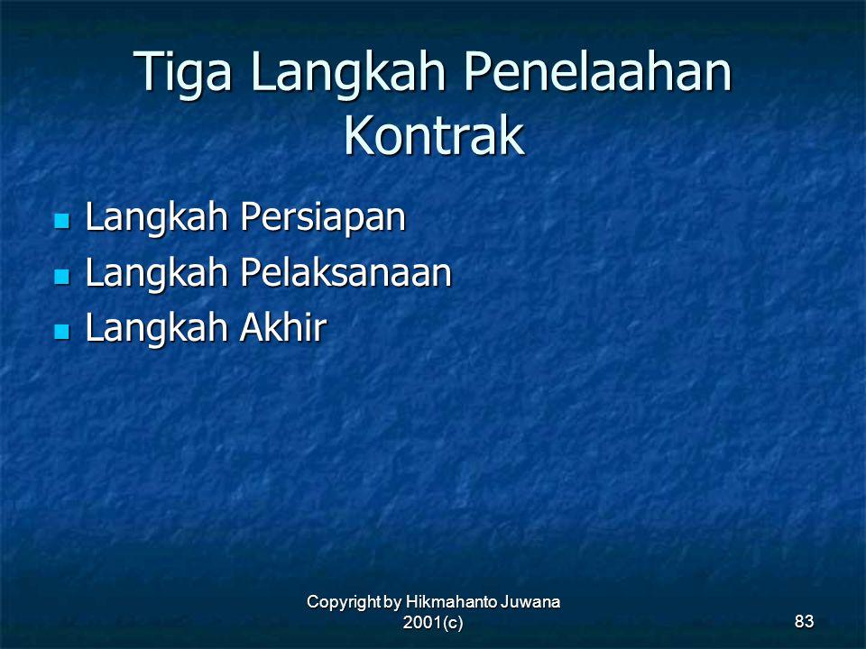 Copyright by Hikmahanto Juwana 2001(c) 83 Tiga Langkah Penelaahan Kontrak Langkah Persiapan Langkah Persiapan Langkah Pelaksanaan Langkah Pelaksanaan