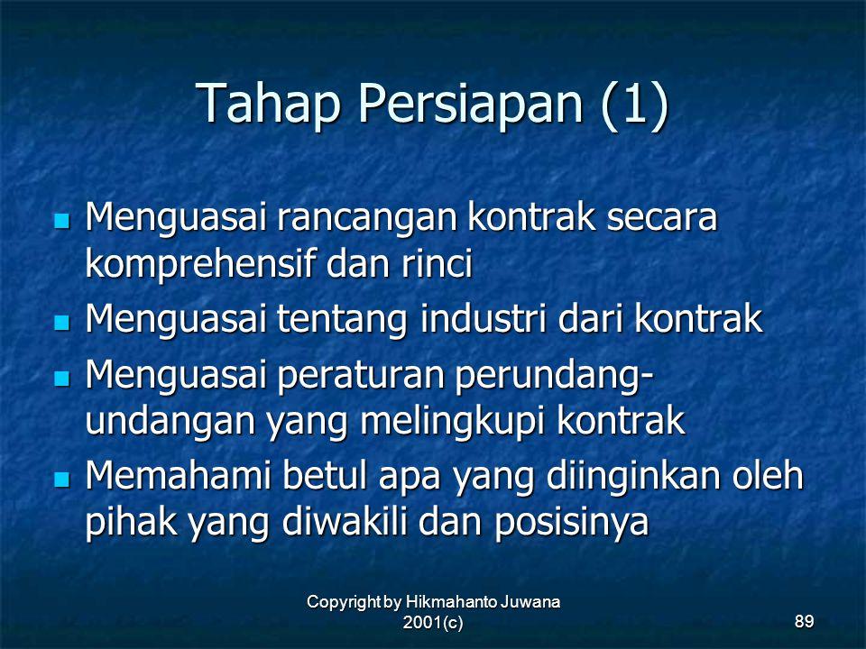 Copyright by Hikmahanto Juwana 2001(c) 89 Tahap Persiapan (1) Menguasai rancangan kontrak secara komprehensif dan rinci Menguasai rancangan kontrak se