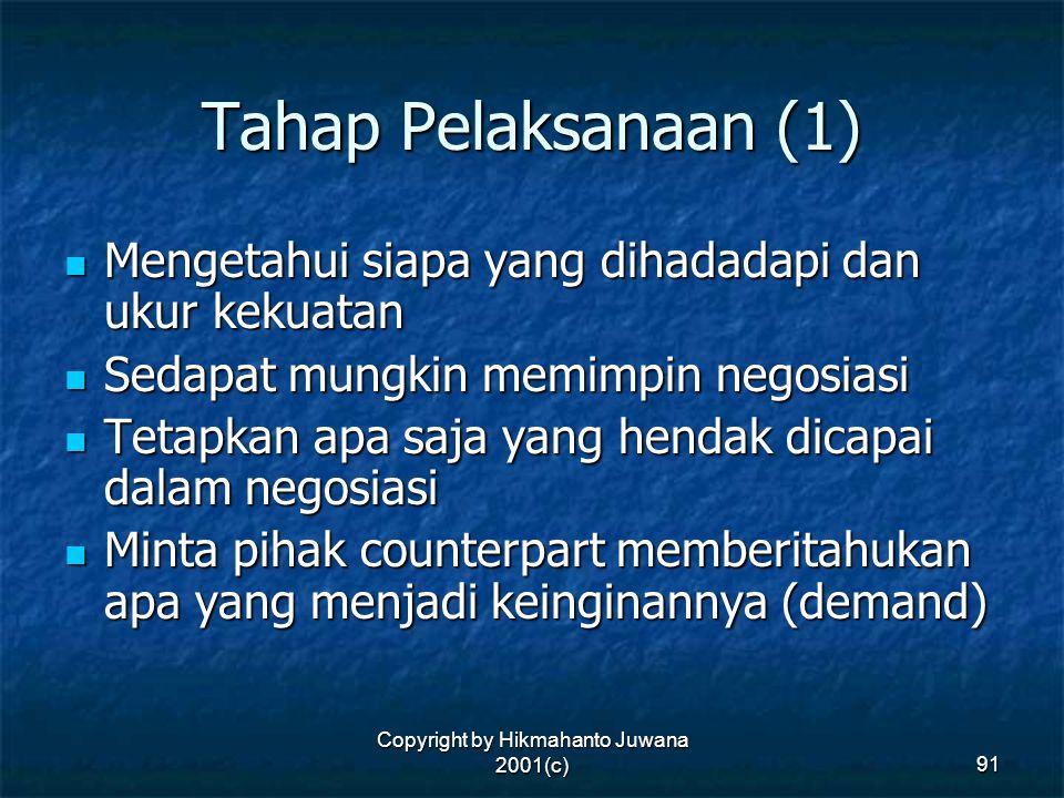 Copyright by Hikmahanto Juwana 2001(c) 91 Tahap Pelaksanaan (1) Mengetahui siapa yang dihadadapi dan ukur kekuatan Mengetahui siapa yang dihadadapi da