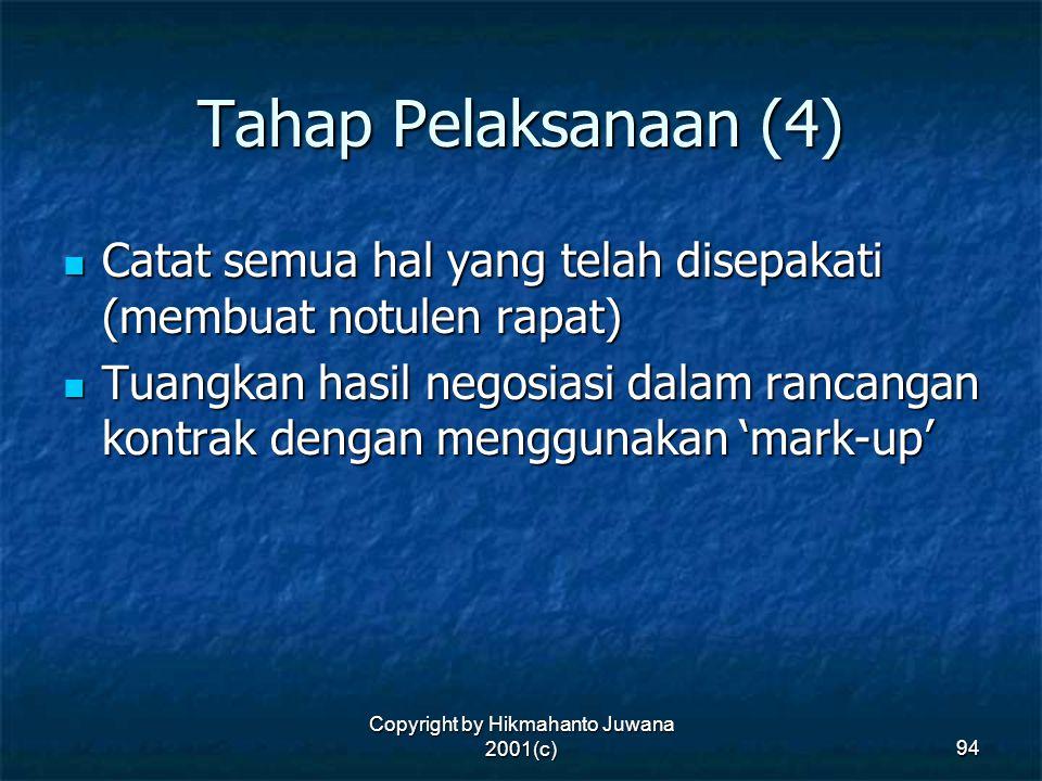 Copyright by Hikmahanto Juwana 2001(c) 94 Tahap Pelaksanaan (4) Catat semua hal yang telah disepakati (membuat notulen rapat) Catat semua hal yang tel