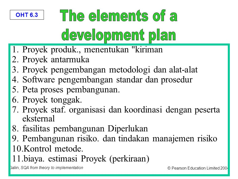 OHT 6.3 Galin, SQA from theory to implementation © Pearson Education Limited 2004 1.Proyek produk., menentukan