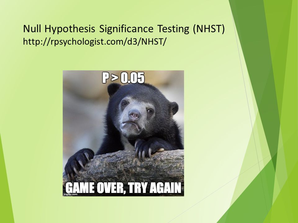 Null Hypothesis Significance Testing (NHST) http://rpsychologist.com/d3/NHST/
