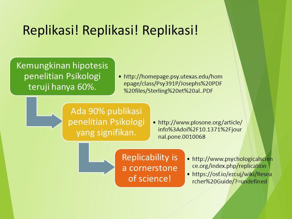 Replikasi! Replikasi! Replikasi! Kemungkinan hipotesis penelitian Psikologi teruji hanya 60%. http://homepage.psy.utexas.edu/hom epage/class/Psy391P/J