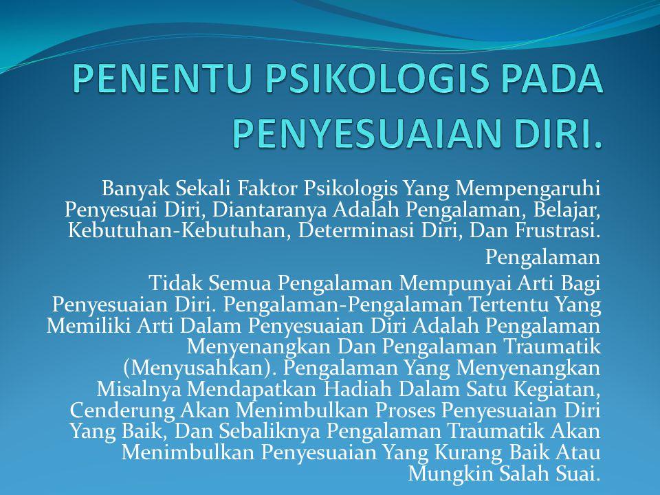 Banyak Sekali Faktor Psikologis Yang Mempengaruhi Penyesuai Diri, Diantaranya Adalah Pengalaman, Belajar, Kebutuhan-Kebutuhan, Determinasi Diri, Dan F