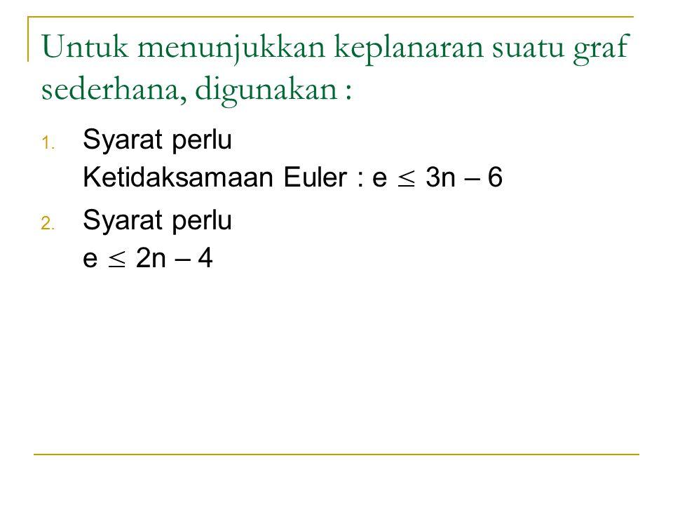 Untuk menunjukkan keplanaran suatu graf sederhana, digunakan : 1. Syarat perlu Ketidaksamaan Euler : e ≤ 3n – 6 2. Syarat perlu e ≤ 2n – 4