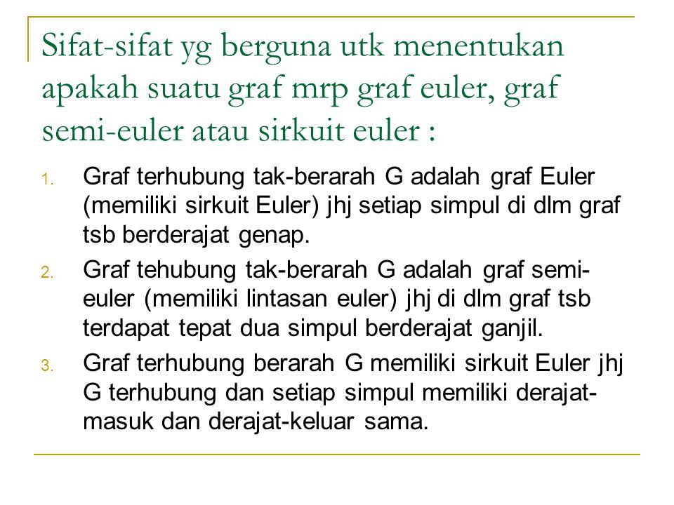 Sifat-sifat yg berguna utk menentukan apakah suatu graf mrp graf euler, graf semi-euler atau sirkuit euler : 1. Graf terhubung tak-berarah G adalah gr