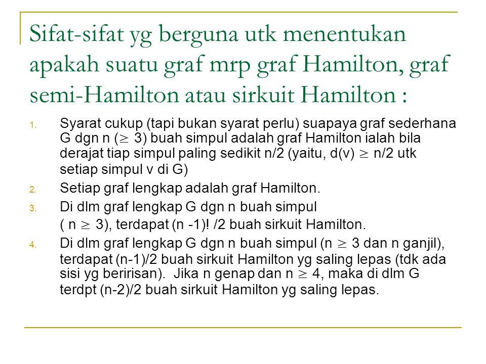 Sifat-sifat yg berguna utk menentukan apakah suatu graf mrp graf Hamilton, graf semi-Hamilton atau sirkuit Hamilton : 1. Syarat cukup (tapi bukan syar