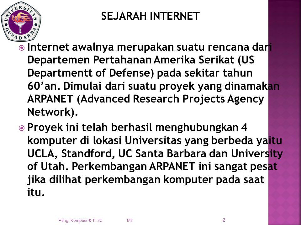 SEJARAH INTERNET  Internet awalnya merupakan suatu rencana dari Departemen Pertahanan Amerika Serikat (US Departmentt of Defense) pada sekitar tahun 60'an.