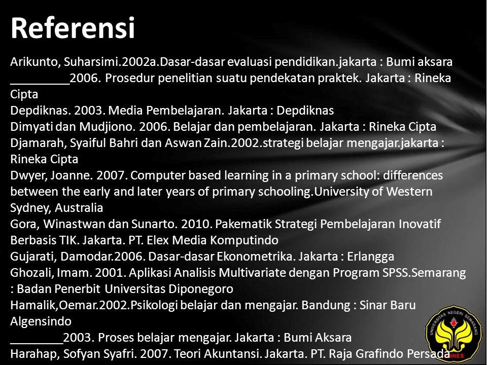Referensi Arikunto, Suharsimi.2002a.Dasar-dasar evaluasi pendidikan.jakarta : Bumi aksara _________2006.