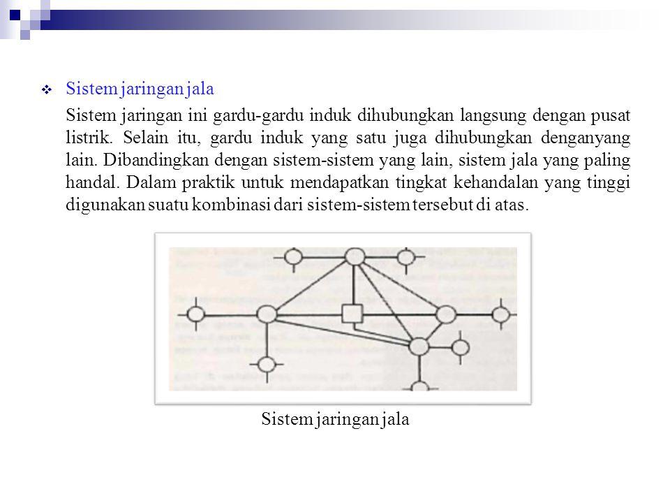  Sistem jaringan jala Sistem jaringan ini gardu-gardu induk dihubungkan langsung dengan pusat listrik.