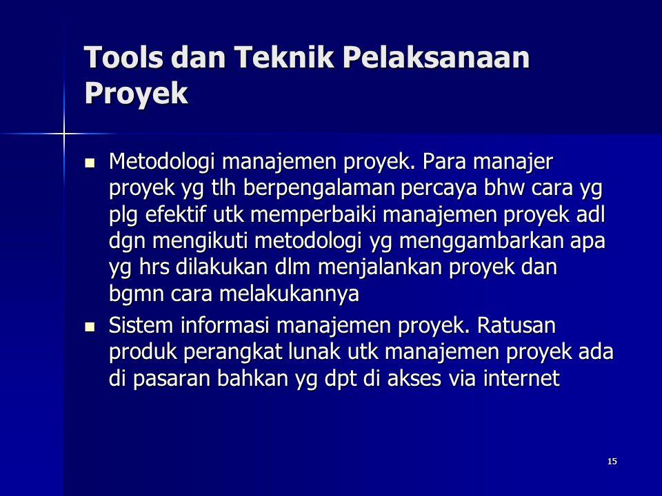 15 Tools dan Teknik Pelaksanaan Proyek Metodologi manajemen proyek. Para manajer proyek yg tlh berpengalaman percaya bhw cara yg plg efektif utk mempe