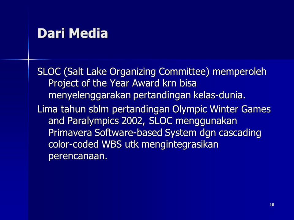 18 Dari Media SLOC (Salt Lake Organizing Committee) memperoleh Project of the Year Award krn bisa menyelenggarakan pertandingan kelas-dunia. Lima tahu