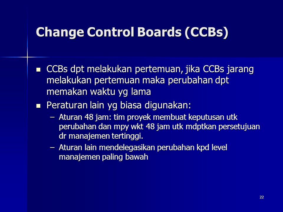 22 Change Control Boards (CCBs) CCBs dpt melakukan pertemuan, jika CCBs jarang melakukan pertemuan maka perubahan dpt memakan waktu yg lama CCBs dpt m