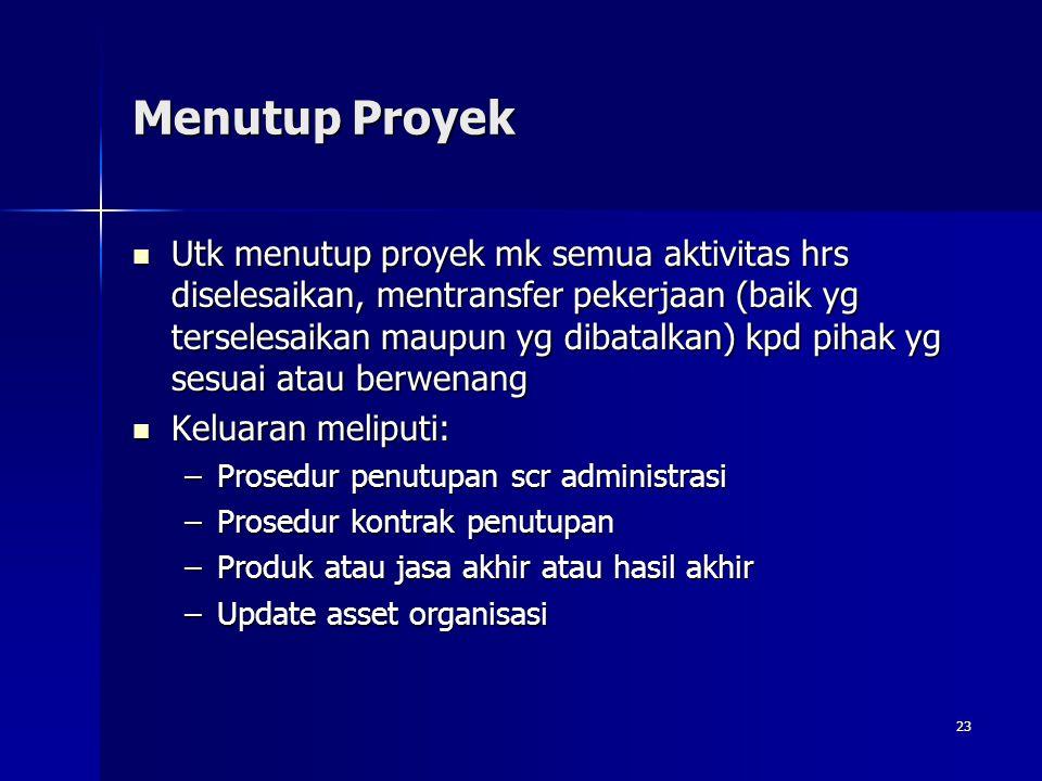 23 Menutup Proyek Utk menutup proyek mk semua aktivitas hrs diselesaikan, mentransfer pekerjaan (baik yg terselesaikan maupun yg dibatalkan) kpd pihak