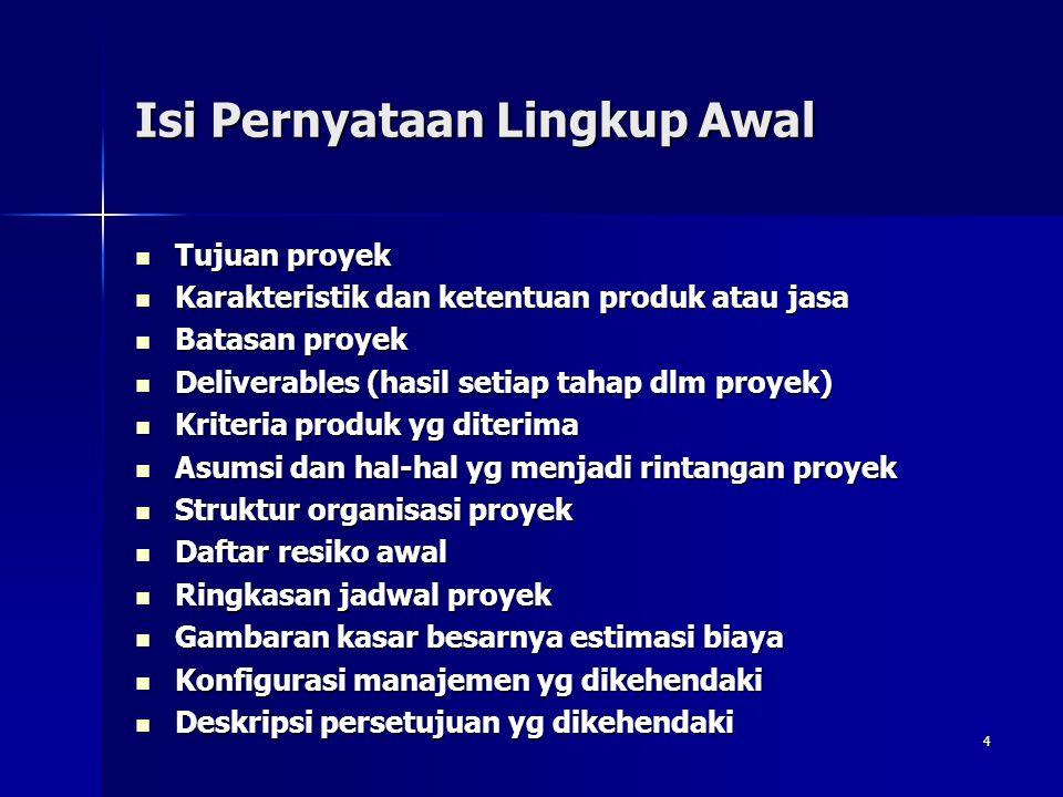 4 Isi Pernyataan Lingkup Awal Tujuan proyek Tujuan proyek Karakteristik dan ketentuan produk atau jasa Karakteristik dan ketentuan produk atau jasa Ba