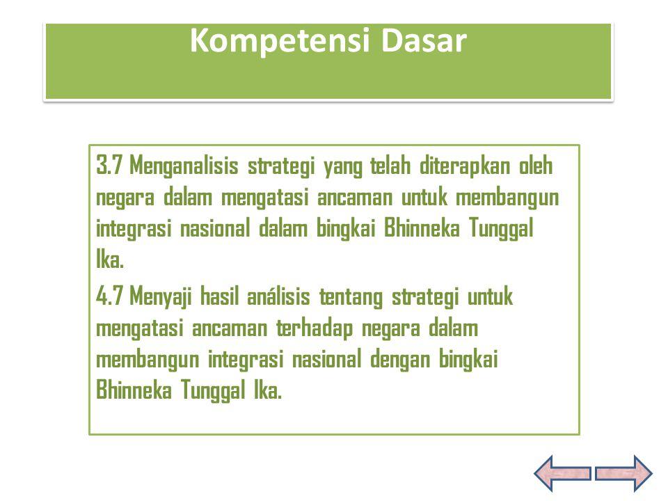 Kompetensi Dasar Kompetensi Dasar 3.7 Menganalisis strategi yang telah diterapkan oleh negara dalam mengatasi ancaman untuk membangun integrasi nasion
