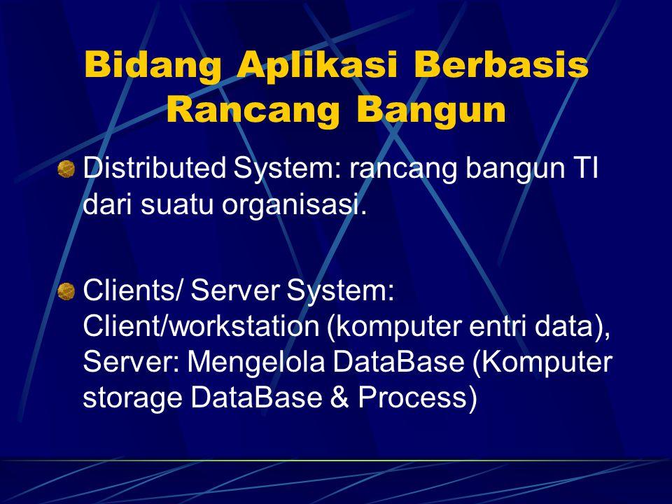 Bidang Aplikasi Berbasis Rancang Bangun Distributed System: rancang bangun TI dari suatu organisasi. Clients/ Server System: Client/workstation (kompu