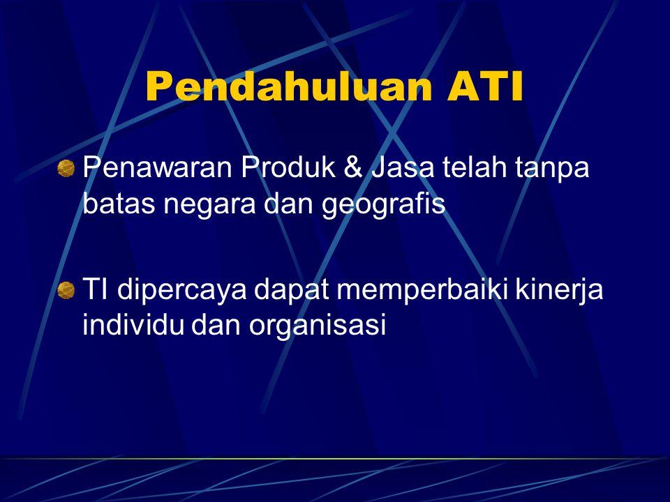 Pendahuluan ATI Penawaran Produk & Jasa telah tanpa batas negara dan geografis TI dipercaya dapat memperbaiki kinerja individu dan organisasi