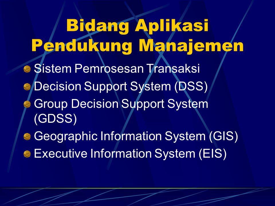 Bidang Aplikasi Pendukung Manajemen Sistem Pemrosesan Transaksi Decision Support System (DSS) Group Decision Support System (GDSS) Geographic Informat