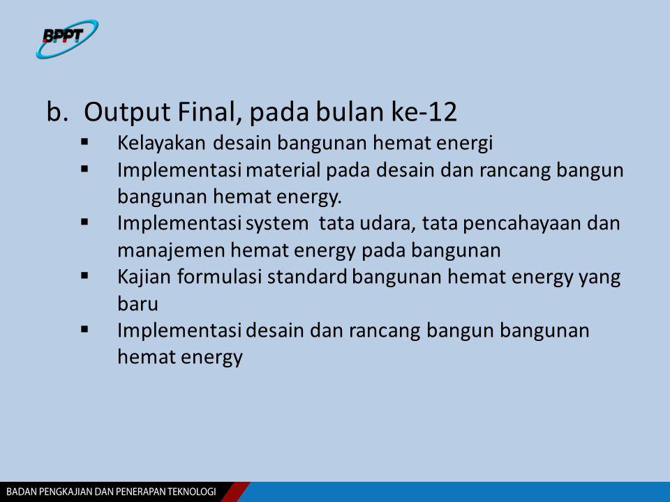 b.Output Final, pada bulan ke-12  Kelayakan desain bangunan hemat energi  Implementasi material pada desain dan rancang bangun bangunan hemat energy