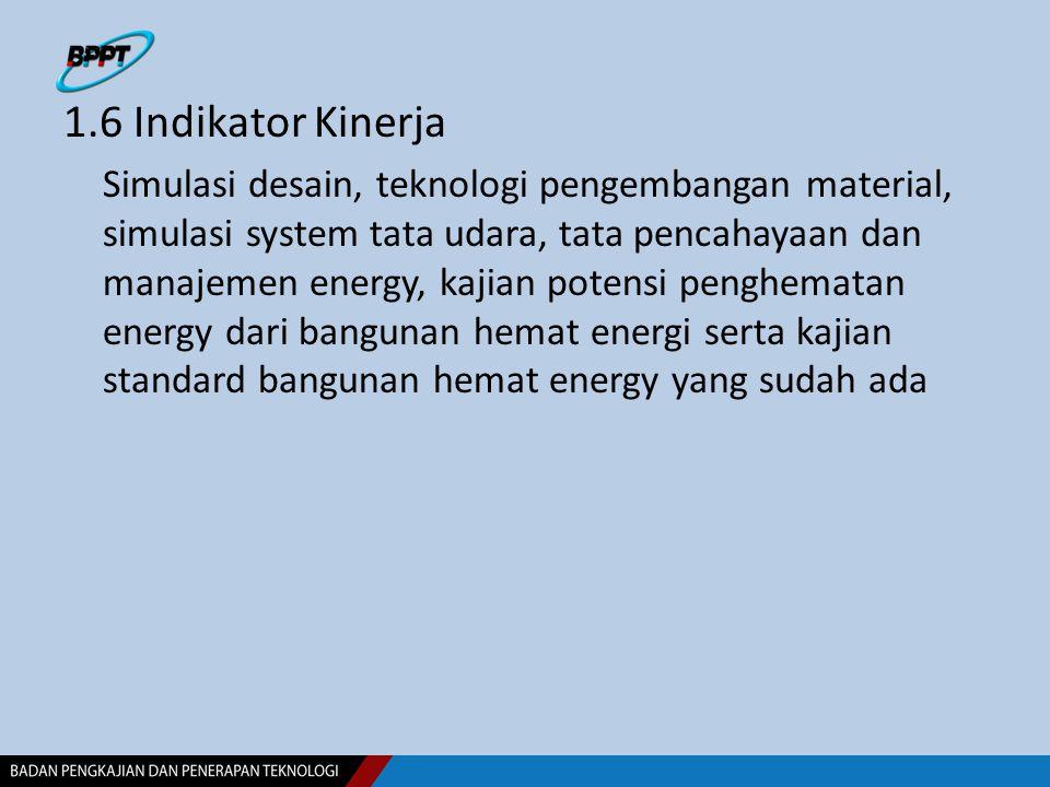 1.6 Indikator Kinerja Simulasi desain, teknologi pengembangan material, simulasi system tata udara, tata pencahayaan dan manajemen energy, kajian pote