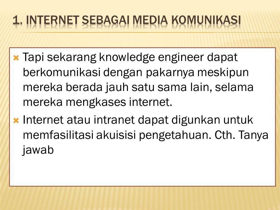  Tapi sekarang knowledge engineer dapat berkomunikasi dengan pakarnya meskipun mereka berada jauh satu sama lain, selama mereka mengkases internet.