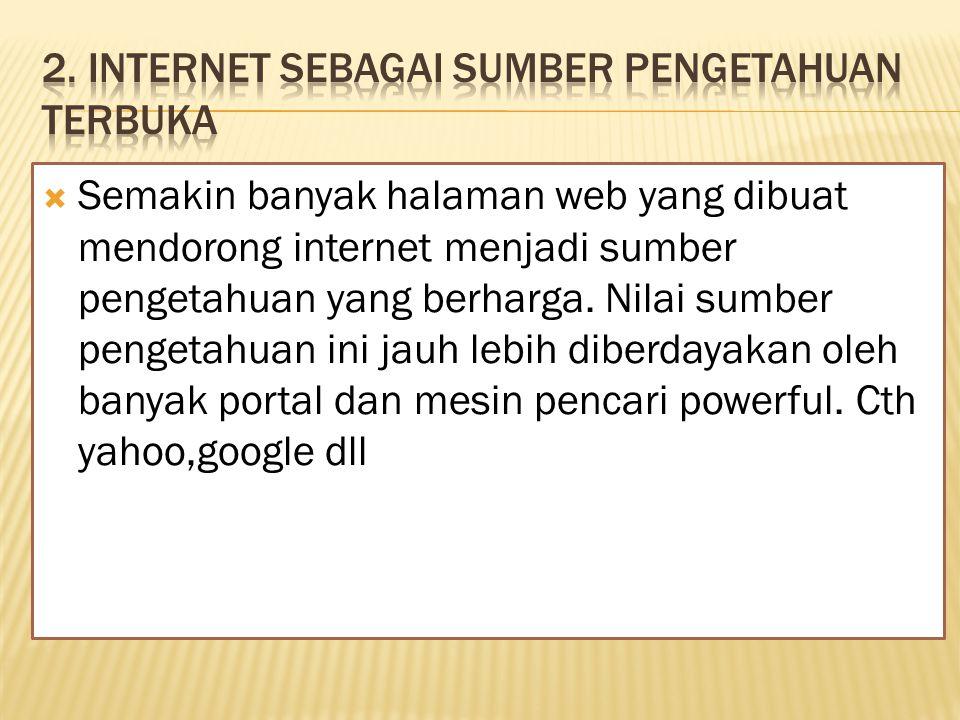  Semakin banyak halaman web yang dibuat mendorong internet menjadi sumber pengetahuan yang berharga.