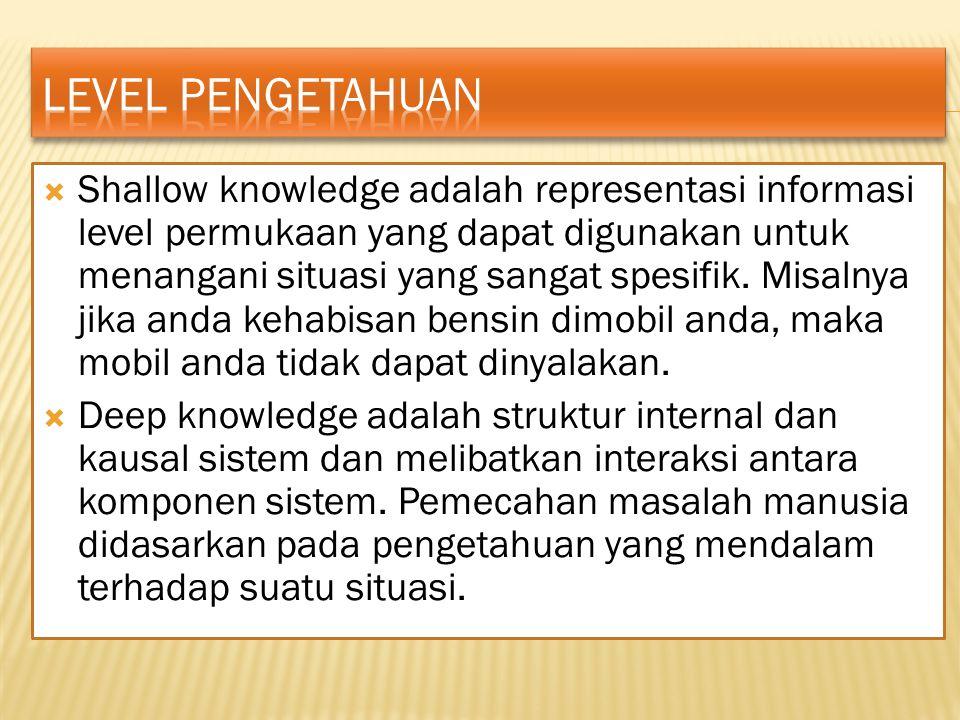  Shallow knowledge adalah representasi informasi level permukaan yang dapat digunakan untuk menangani situasi yang sangat spesifik.